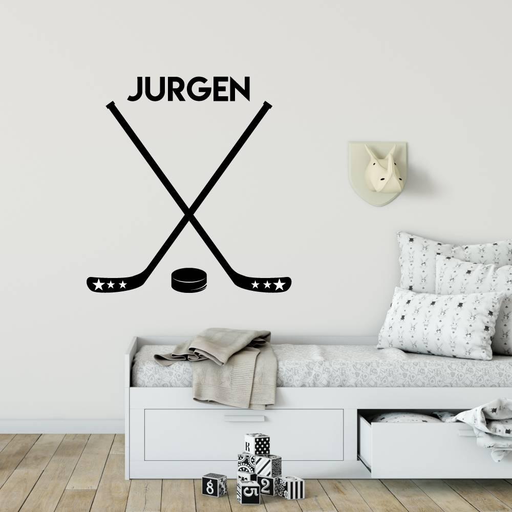 Muursticker Hockey met naam