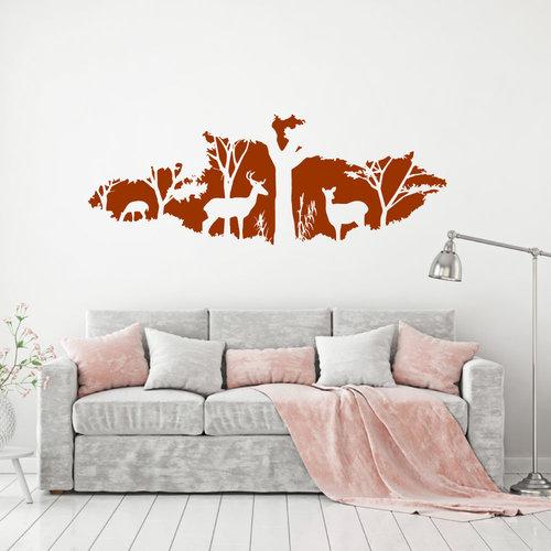 Muursticker Herten in het bos
