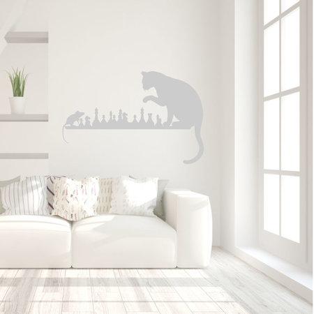 Muursticker Kat en muis spelen