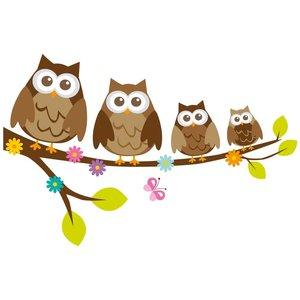 Muursticker vier uilen op een tak