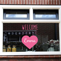 Geboorte sticker welcome little girl met naam