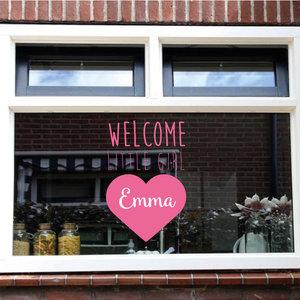 Geboorte sticker welcome little girl met naam
