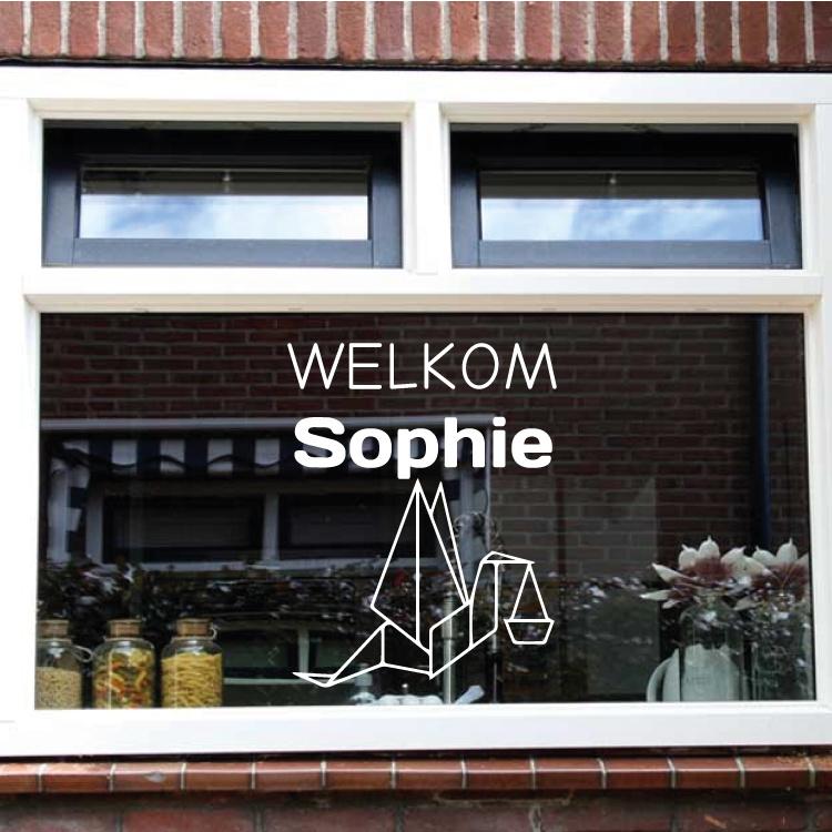Geboortesticker ooievaar welkom - raam en deur stickers - geboorte stickers