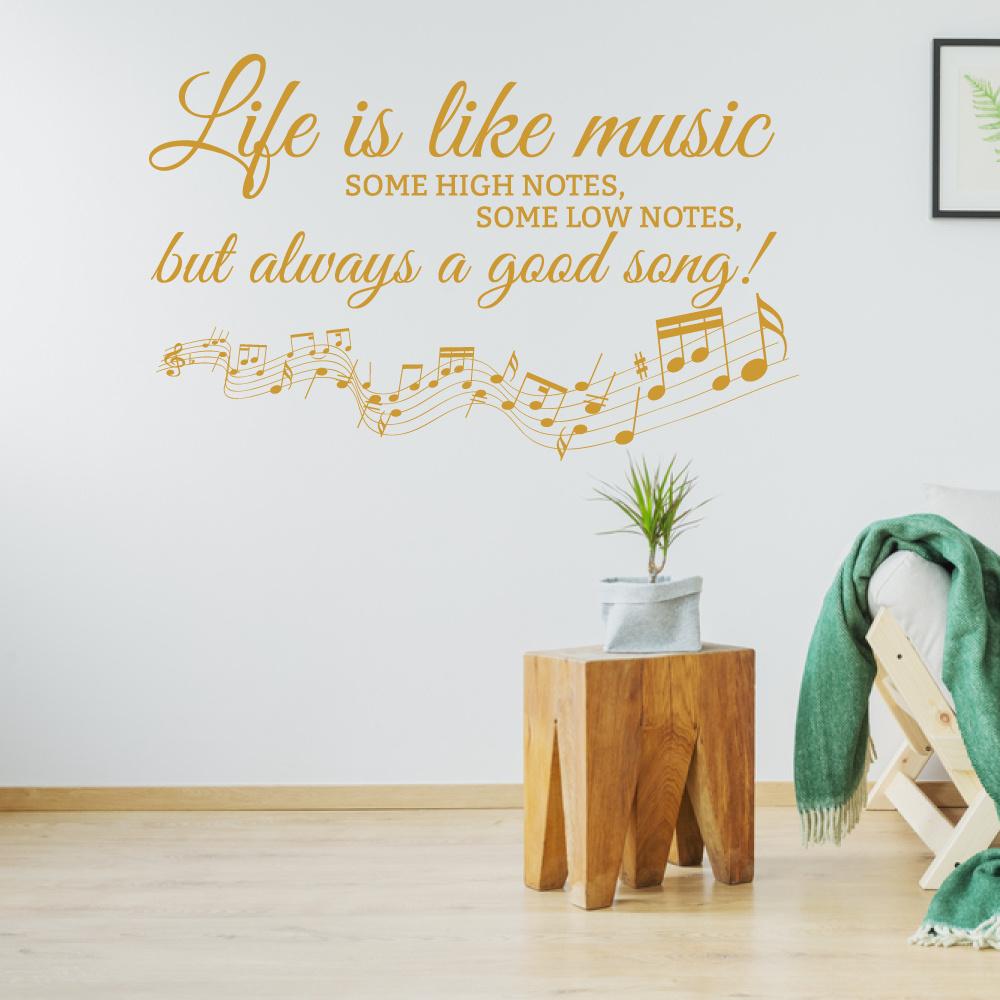 Muursticker life is like music -   slaapkamer  woonkamer