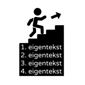 Bewegwijzering trap tekst is aanpasbaar