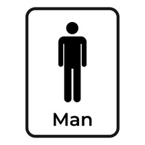 Bewegwijzering sticker Toilet man