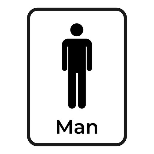 Bewegwijzering sticker Toilet man