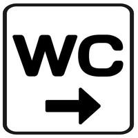 Bewegwijzering sticker WC met pijl (Ontwerp zelf)