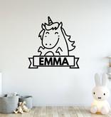 muursticker unicorn met naam