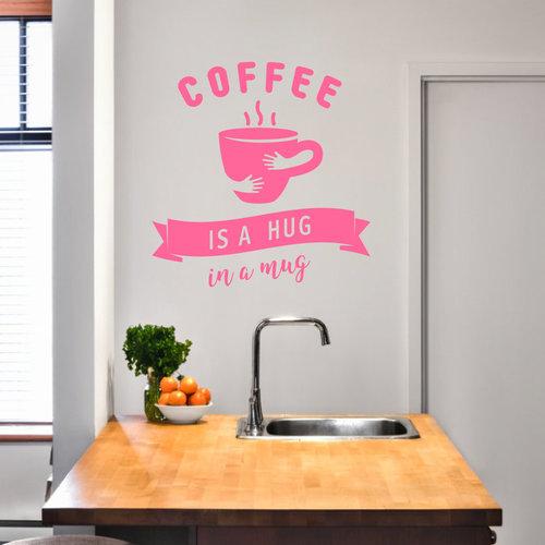 Muursticker Coffee is a hug in a mug