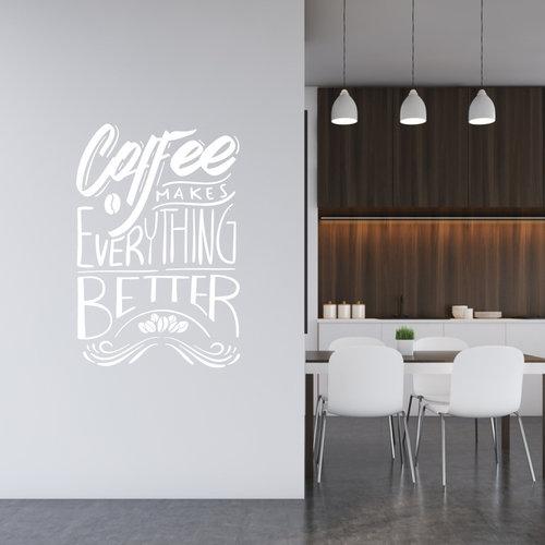 Muursticker coffee makes everything better