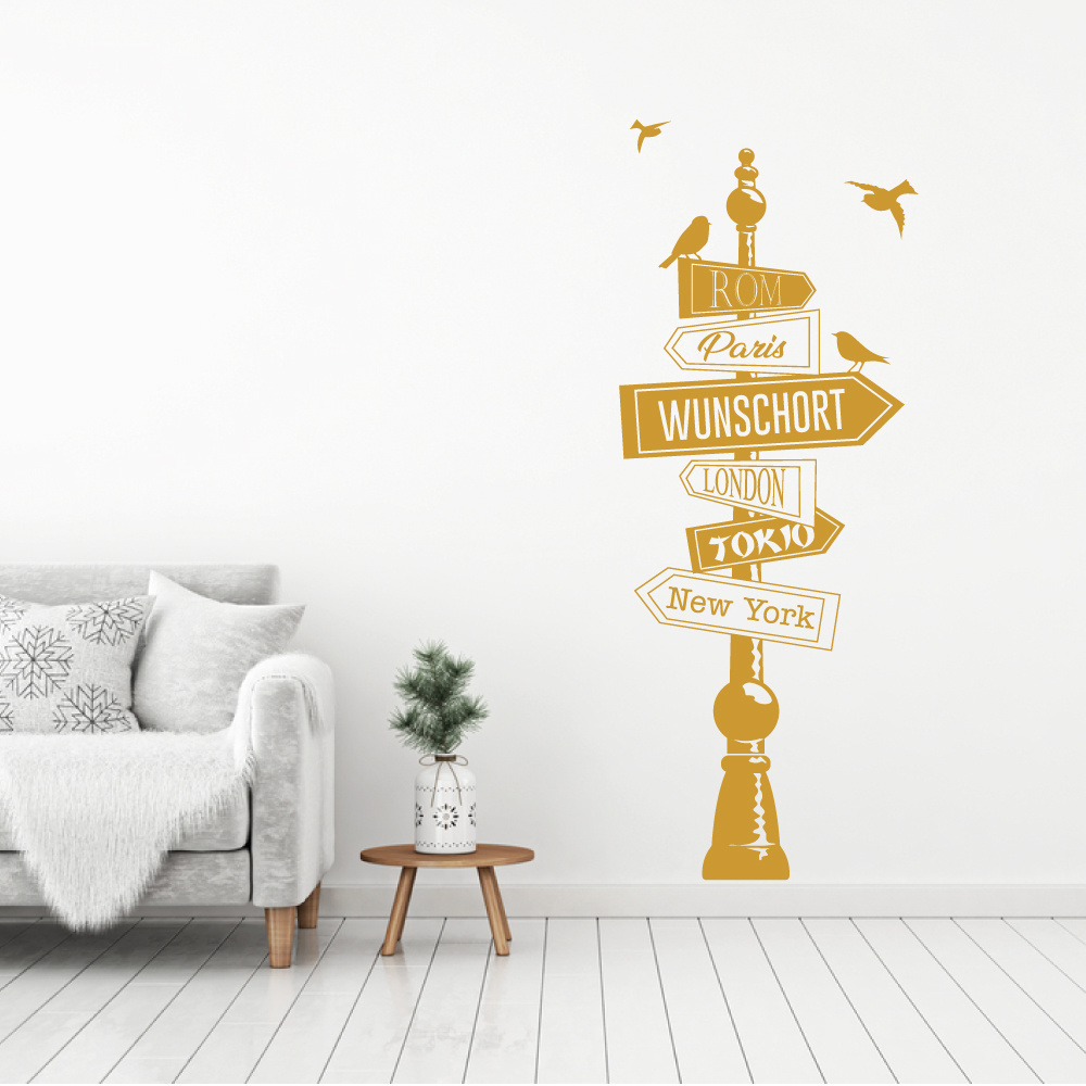 Muursticker paal met diverse plaatsen en vogels -  woonkamer