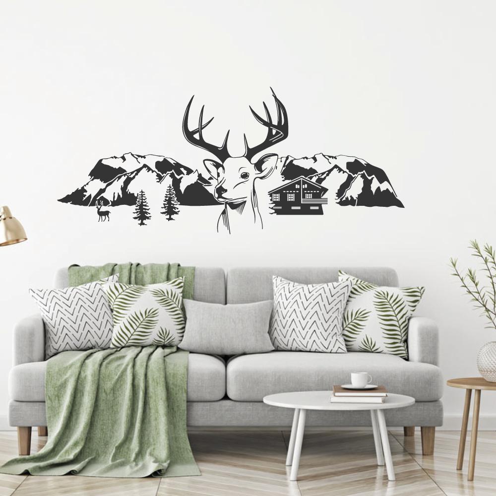 Muursticker Herten met bergen bomen en huis -  woonkamer   slaapkamer  dieren