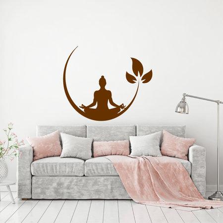 muursticker boeddha met bloem