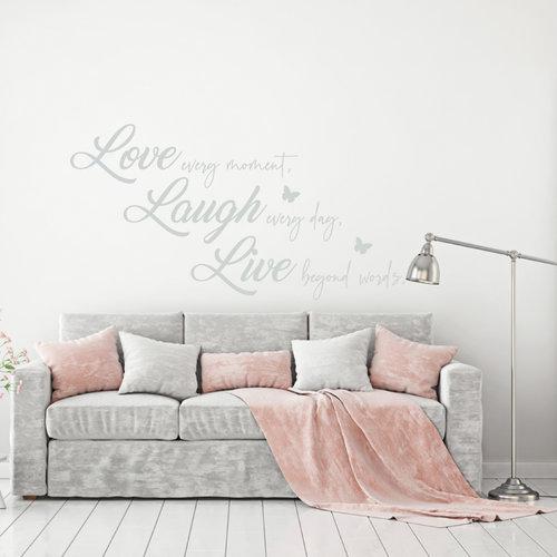Muursticker Love laugh live