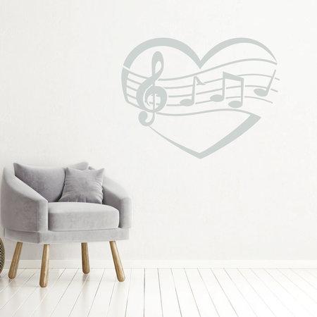 Muziek noten in hart