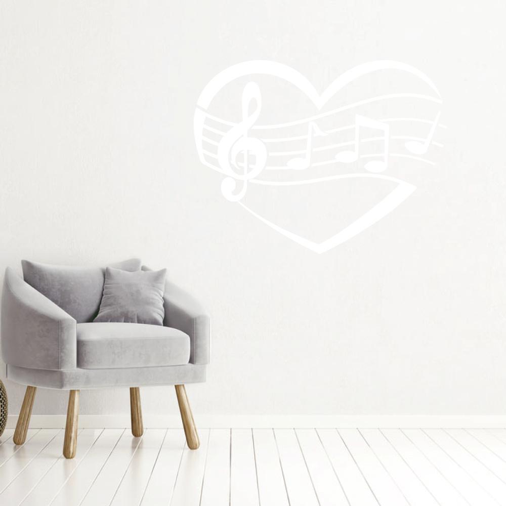 Muziek noten in hart -   baby en kinderkamer  woonkamer