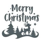 Sticker Merry christmas met hertje