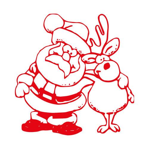 Sticker Kerstman en rendier