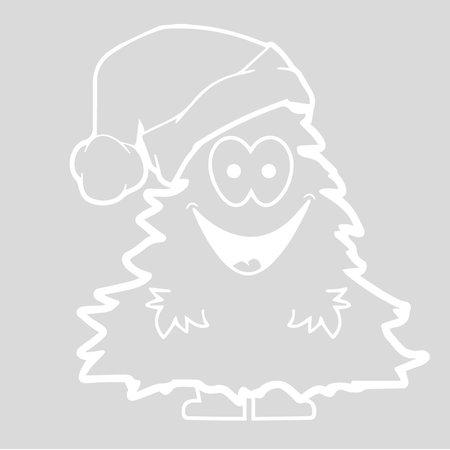 Sticker kerstboom met kerstmuts