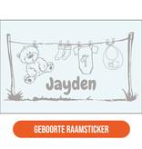 Geboorte sticker waslijn met naam