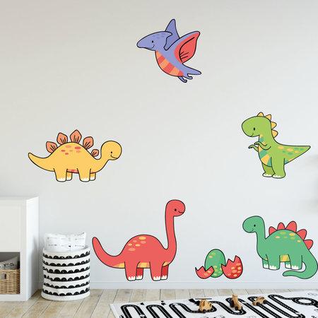 Muursticker meerdere dinosaurus