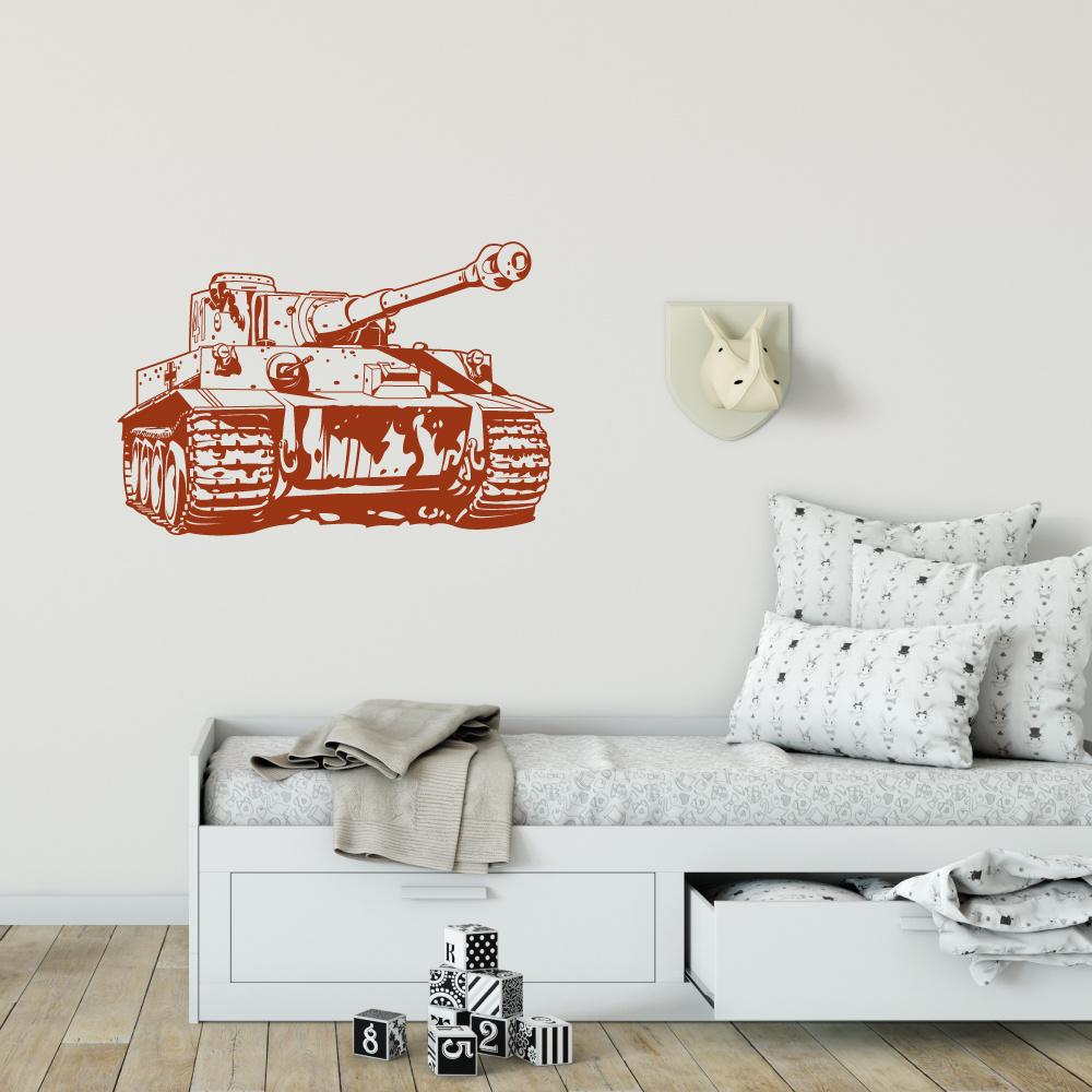 Muursticker tank -  slaapkamer  woonkamer