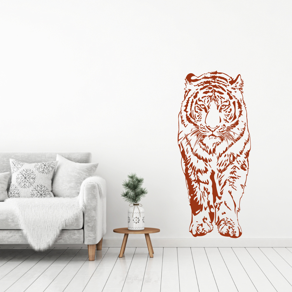 Muursticker Tijger lopend -  slaapkamer  woonkamer  dieren