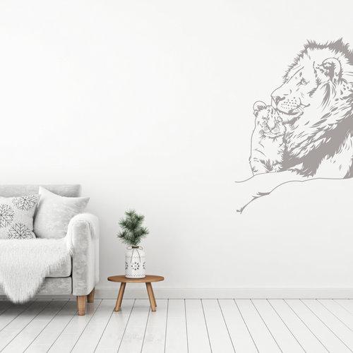 Muursticker Leeuw met welp