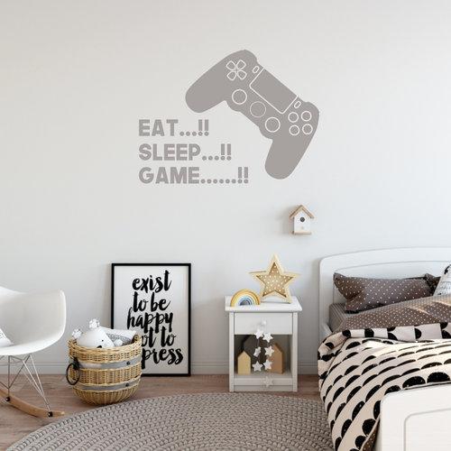 Muursticker Eat, sleep game