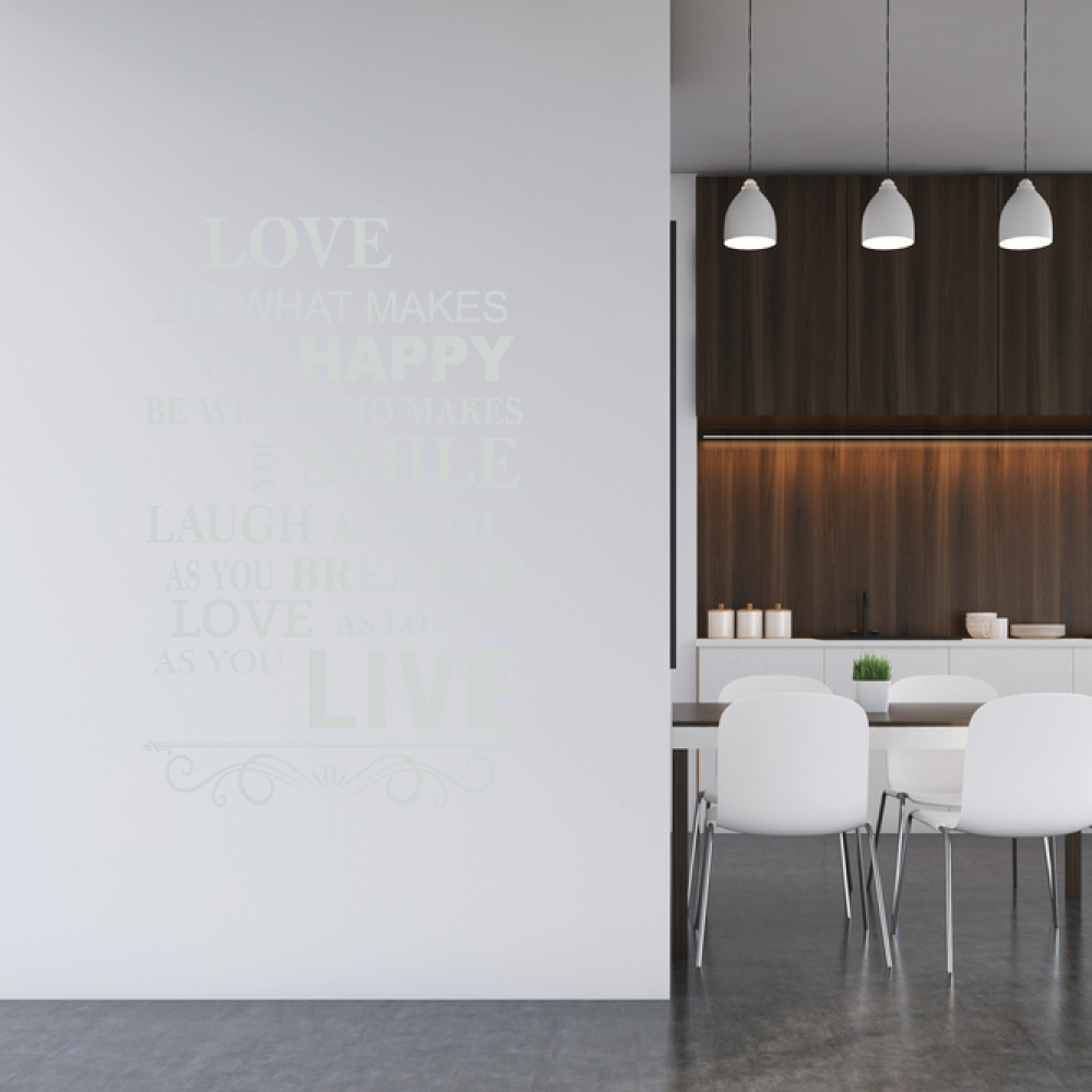 Muursticker love do what makes you happy -  engelse teksten  woonkamer