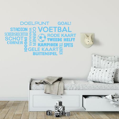 Muursticker voetbal woorden wolk