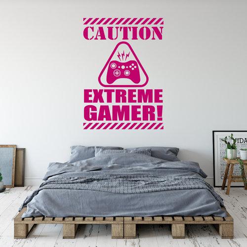 Muursticker Caution extreme gamer
