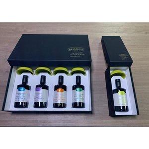 Desiderio Luxe geschenk doos met 4 flesjes monocultivar olijfolie en exclusieve porseleinen oliecups.