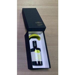 Desiderio Luxe geschenk doos met bladgoud ingelegd en  1 flesje monocultivar olijfolie en exclusieve porseleinen olijfolie cupje