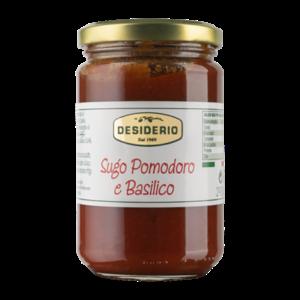 Desiderio Tomatensaus met basilicum in glazen pot, inhoud 290 gram