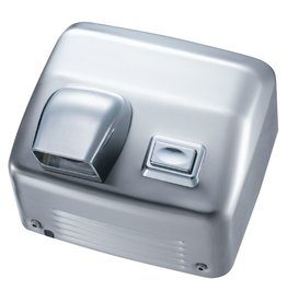 Stainless steel hand dryer with button and nose