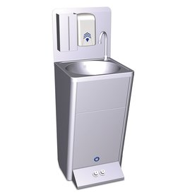 Mobile hand washbasin with two control buttons for hot and cold
