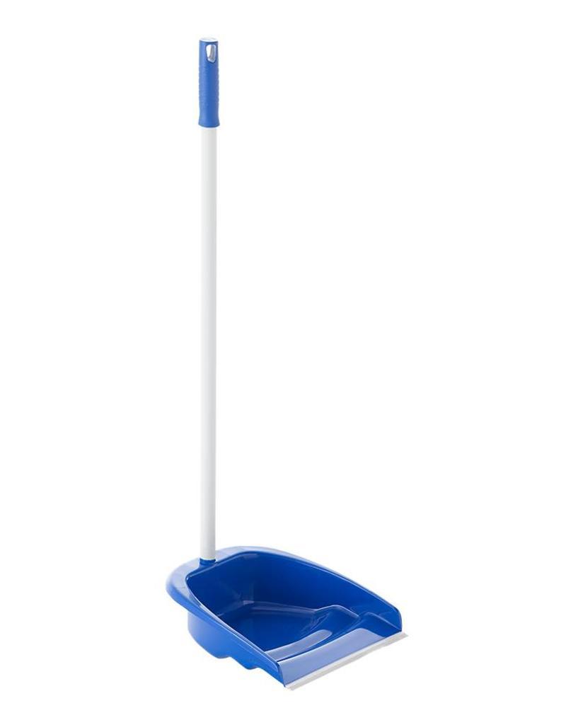 Dustpan with long metal pole