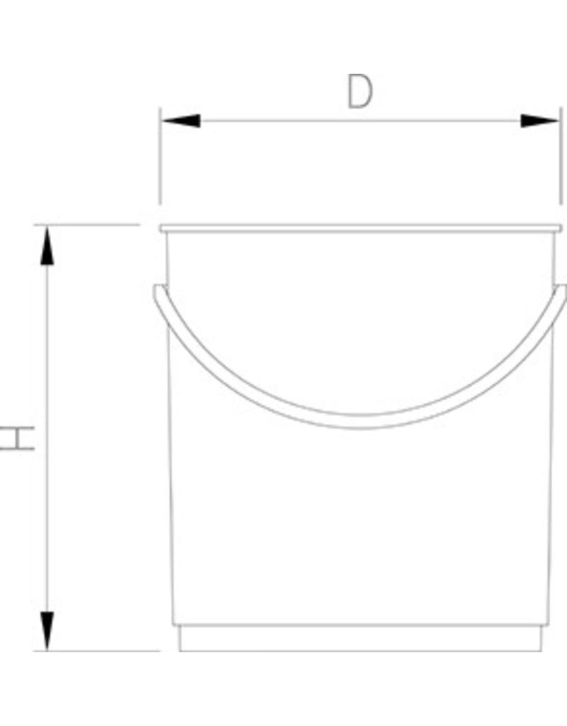 Emmer in plastiek - metaal detecteerbaar