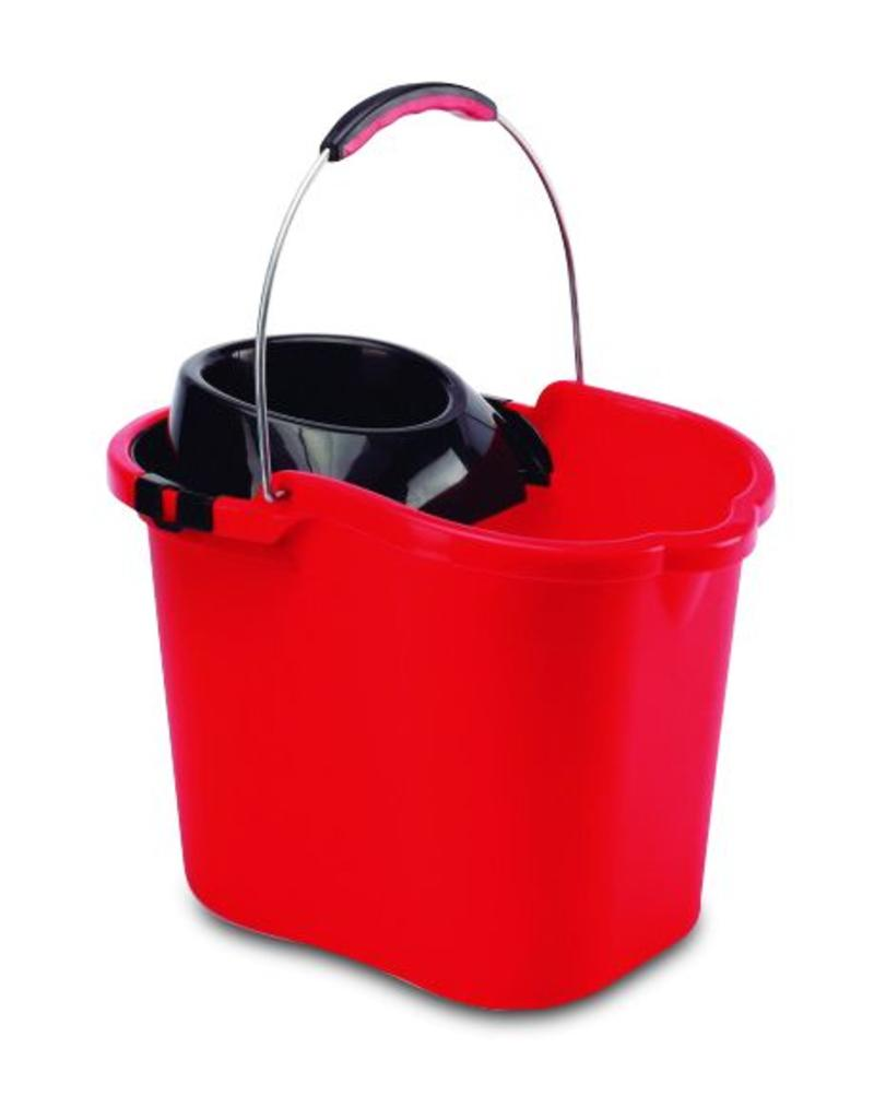 Plastic bucket with metal handle