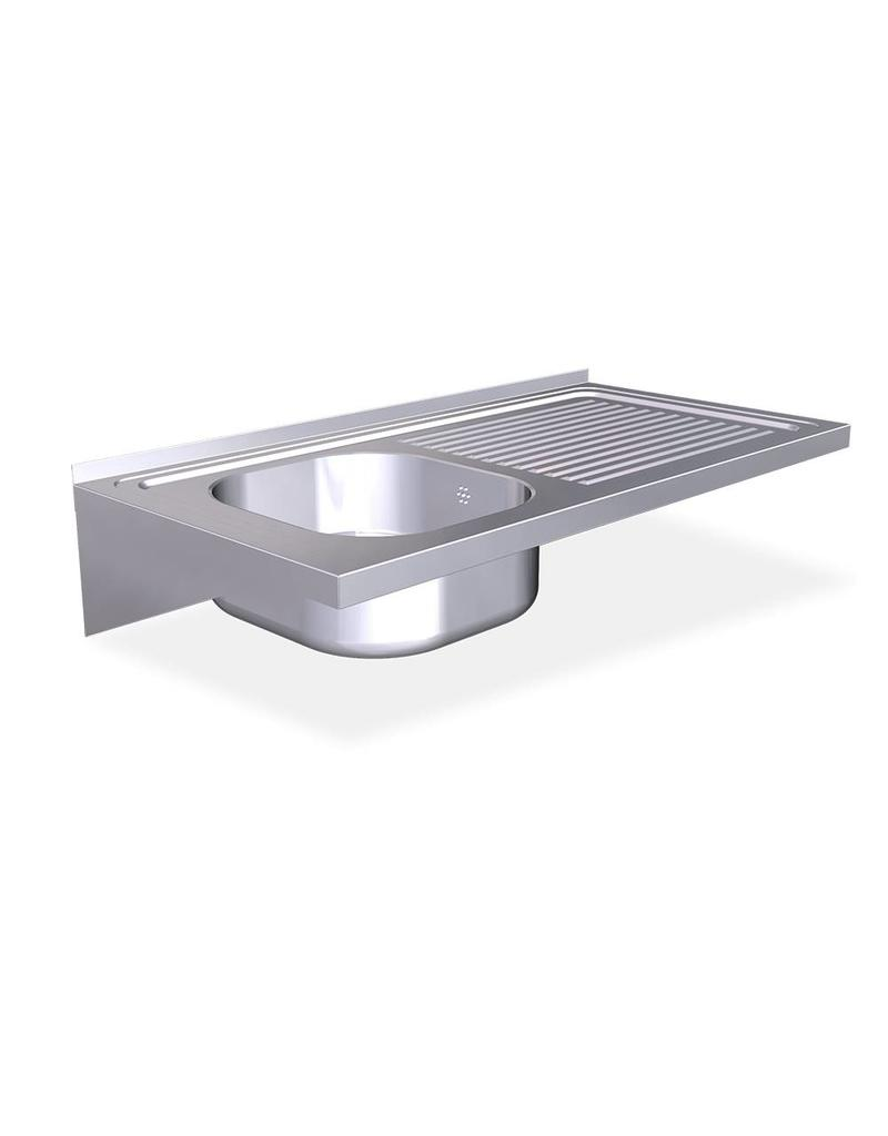 Wall mounted sink with brackets - drainer on the right