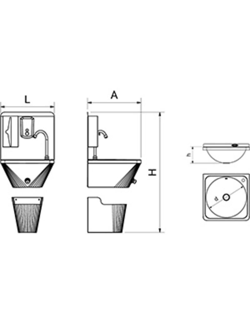 Wall-mounted hand wash basin with separated paperbin with sensor