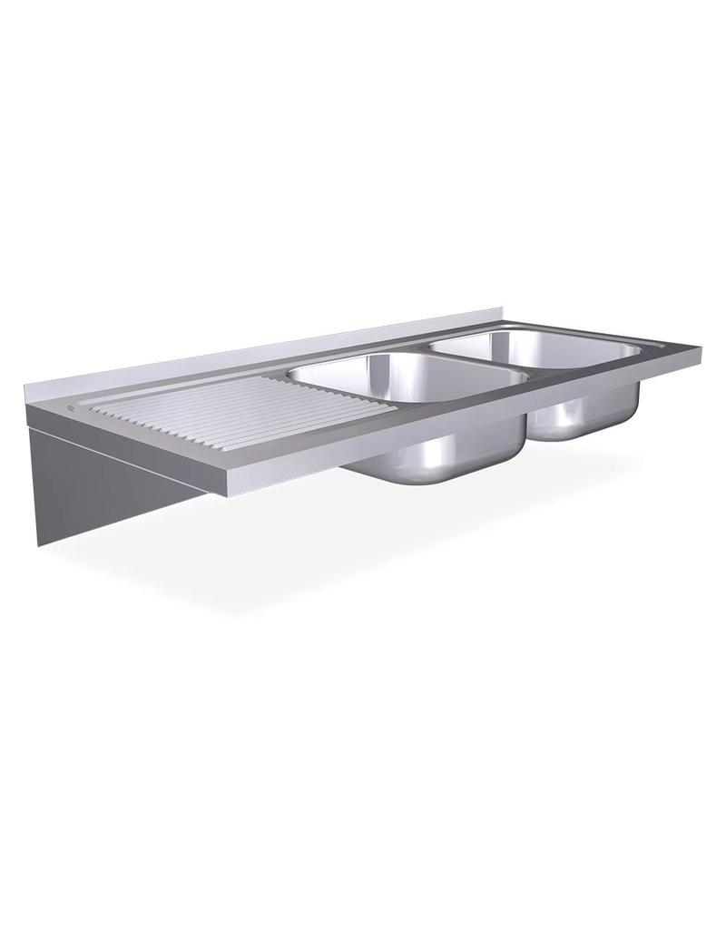 Fricosmos Wall mounted double sink with brackets - drainer on the left