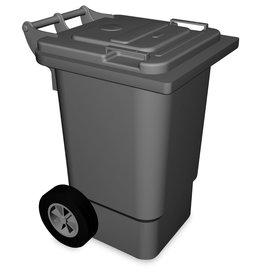 Waste bin with lid and wheels with pedal