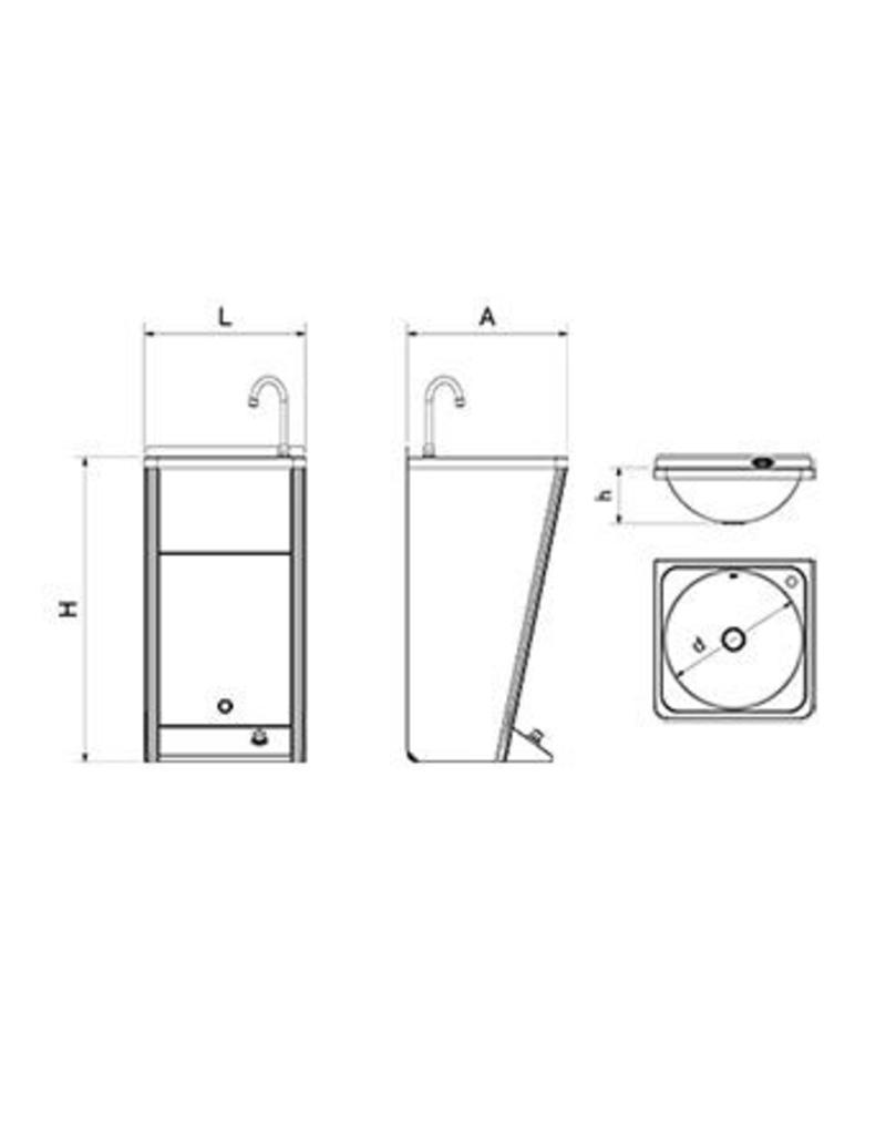 Mobile hand wash basin with integrated tanks - no backsplash -220v 60w.