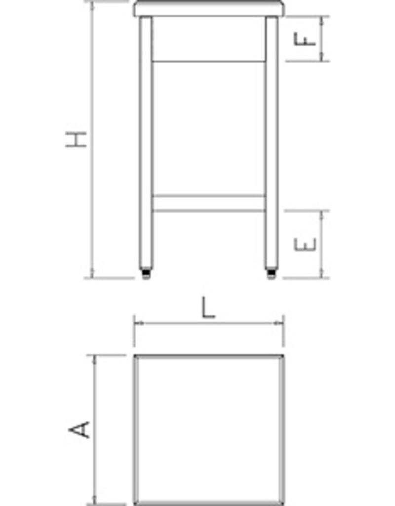 Hakblok Polyethyleen met onderstel - verstevigd