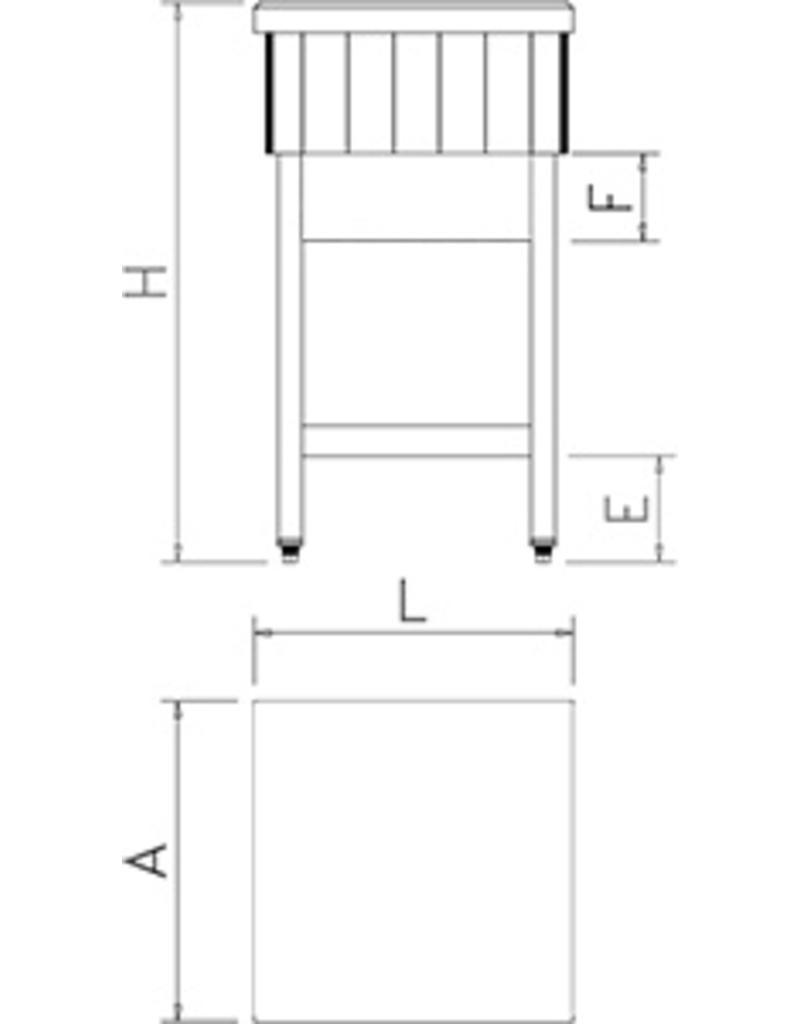 Hakblok hout + polyethyleen met inox onderstel