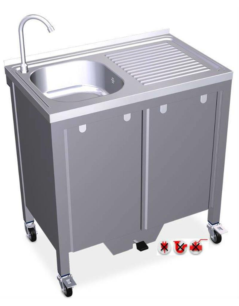 Mobile and autonomous sink with 1 tank and drain board