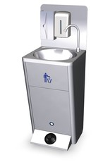 Mobile hand wash basin with integrated tanks backsplash